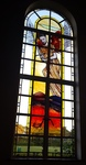The stained glass windows in the chapel