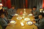 Natty, Teddy, James and Jiyong enjoy their Headmaster's Dinner